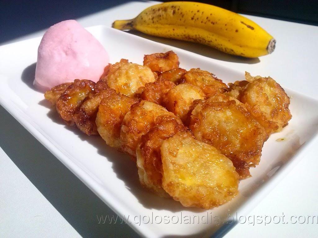 Plátano frito con miel, receta casera paso a paso