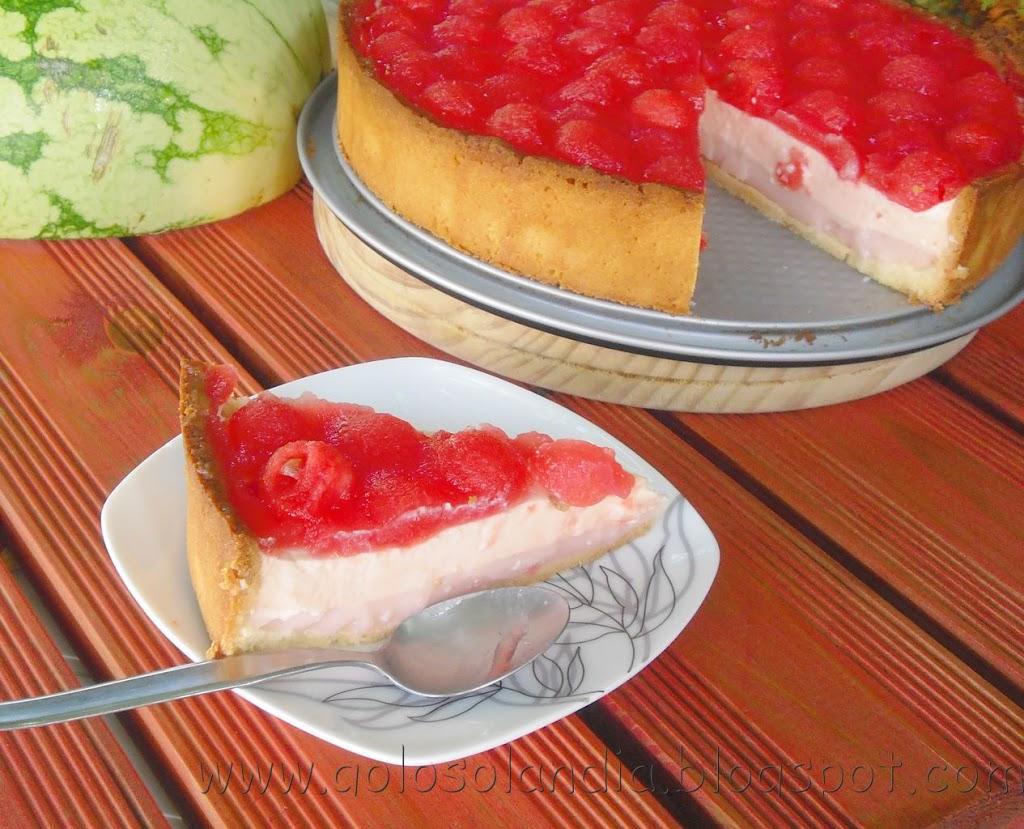 Tarta de nata y sandía