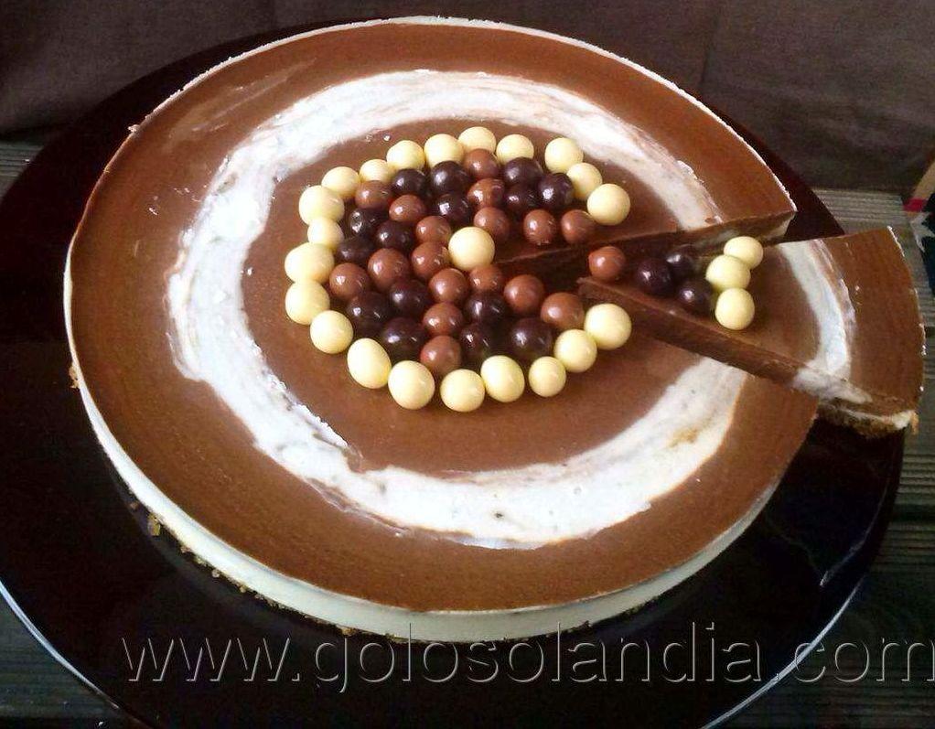 Tarta de queso fresco y chocolate