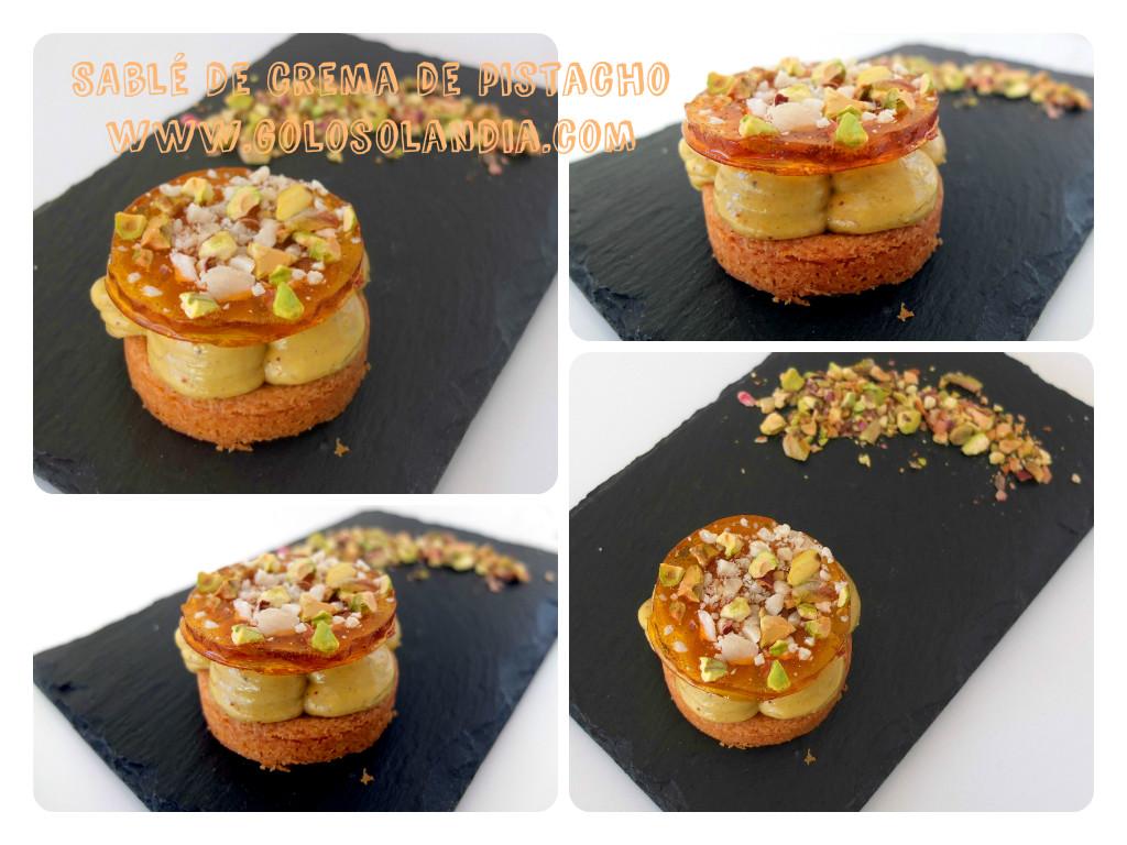 Pastelitos de masa sable con crema de pistacho y crujiente de caramelo