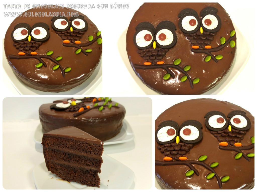 Tarta De Chocolate Decorada Con Búhos Golosolandia