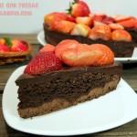 Tarta brownie con fresas