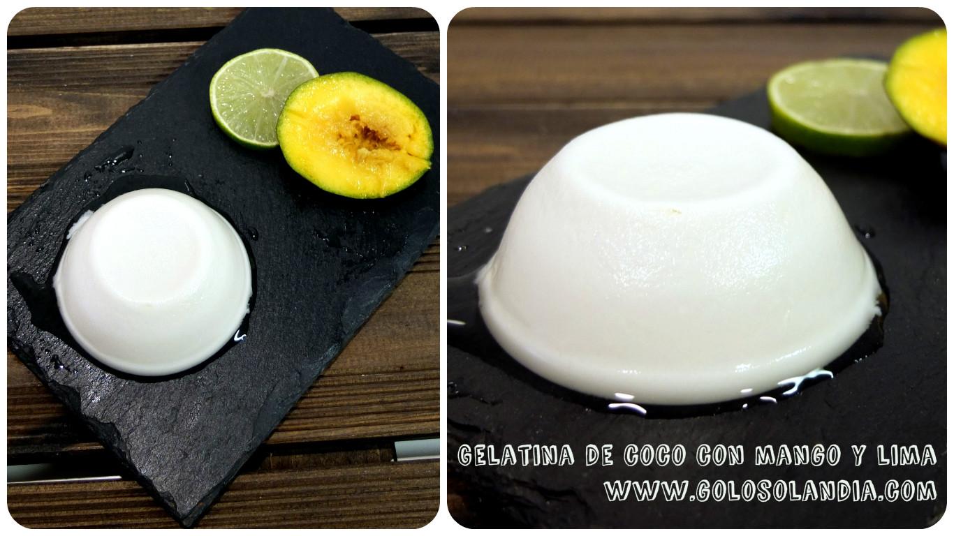 Gelatina de coco con mango y lima