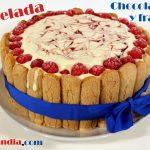Tarta helada de chocolate blanco y frambuesa