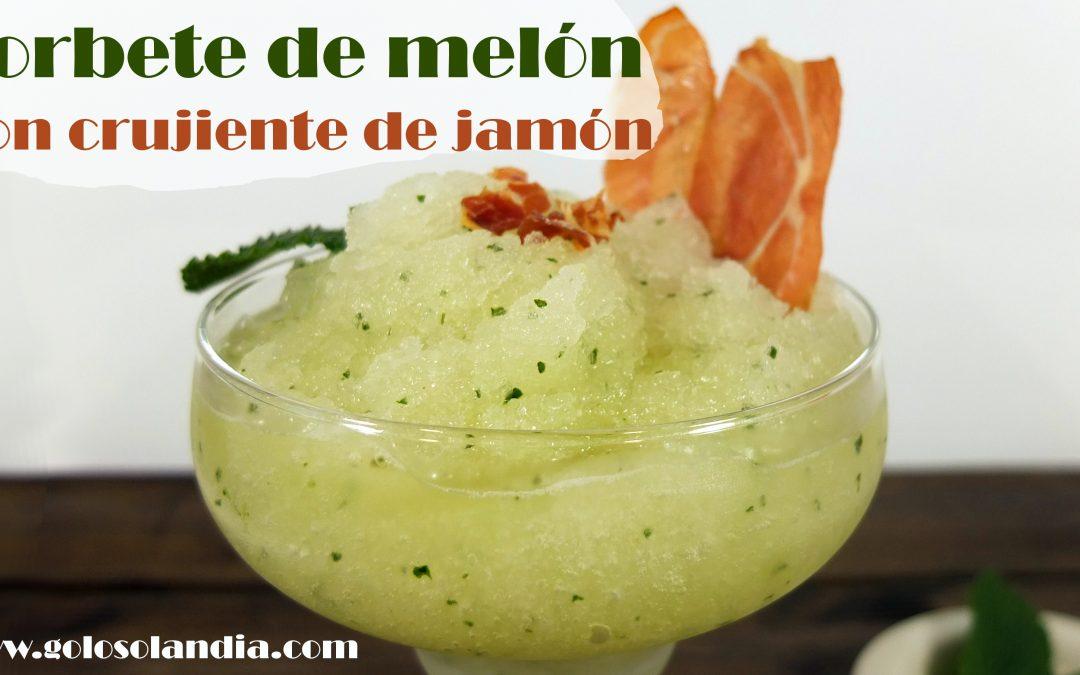Sorbete de melón y menta con crujiente de jamón