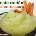 Sorbete de melón y menta con crujiente de jarmón