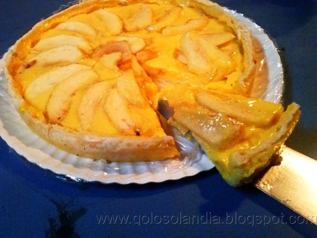 Tarta de manzana y flan, rápida y fácil. receta casera