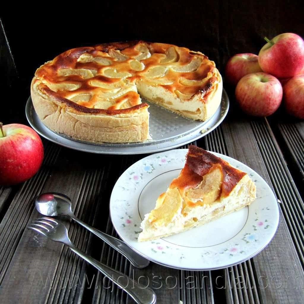 tarta queso y manzana