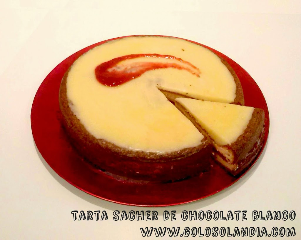 Tarta sacher de chocolate blanco