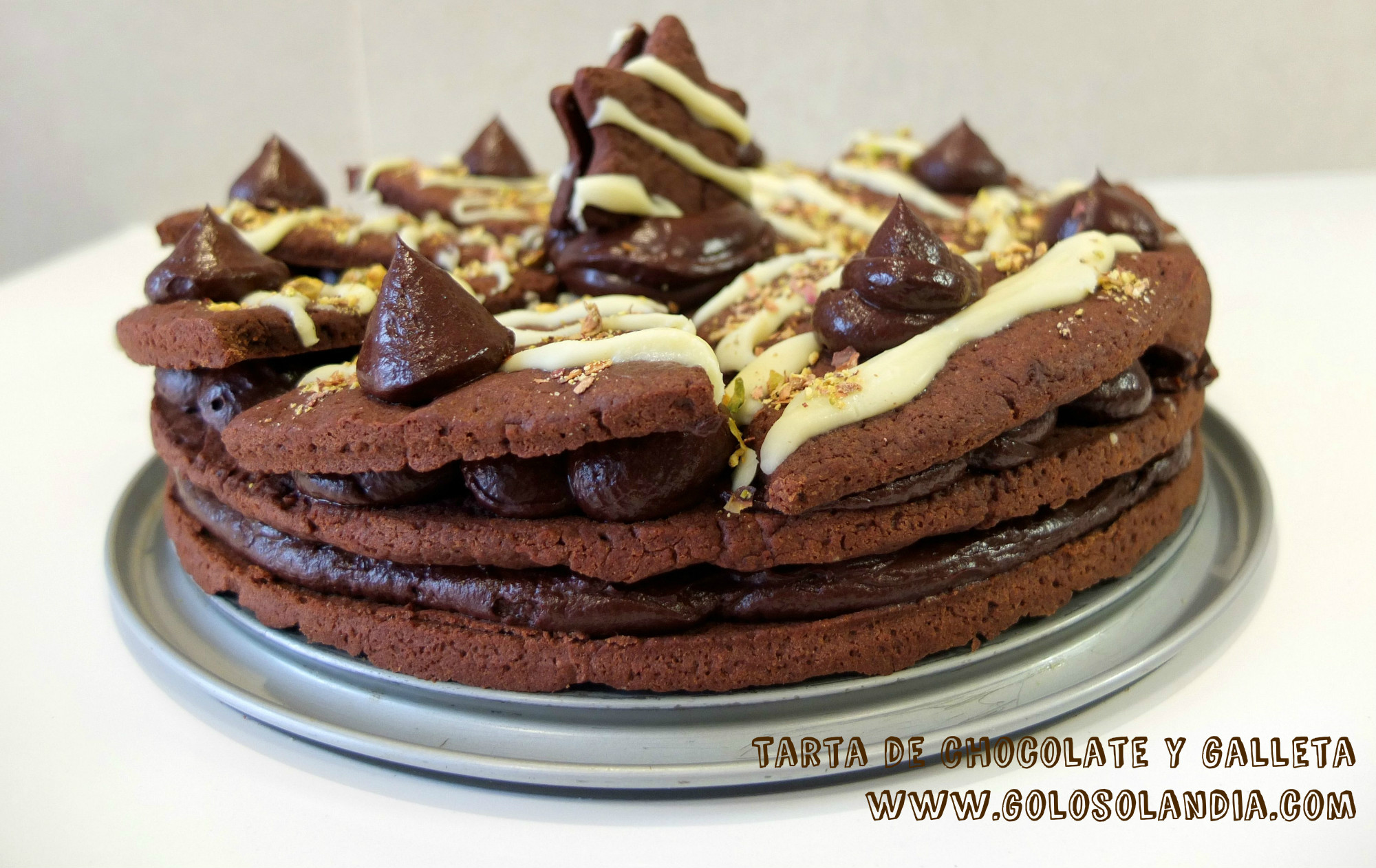 Tarta de chocolate y galleta