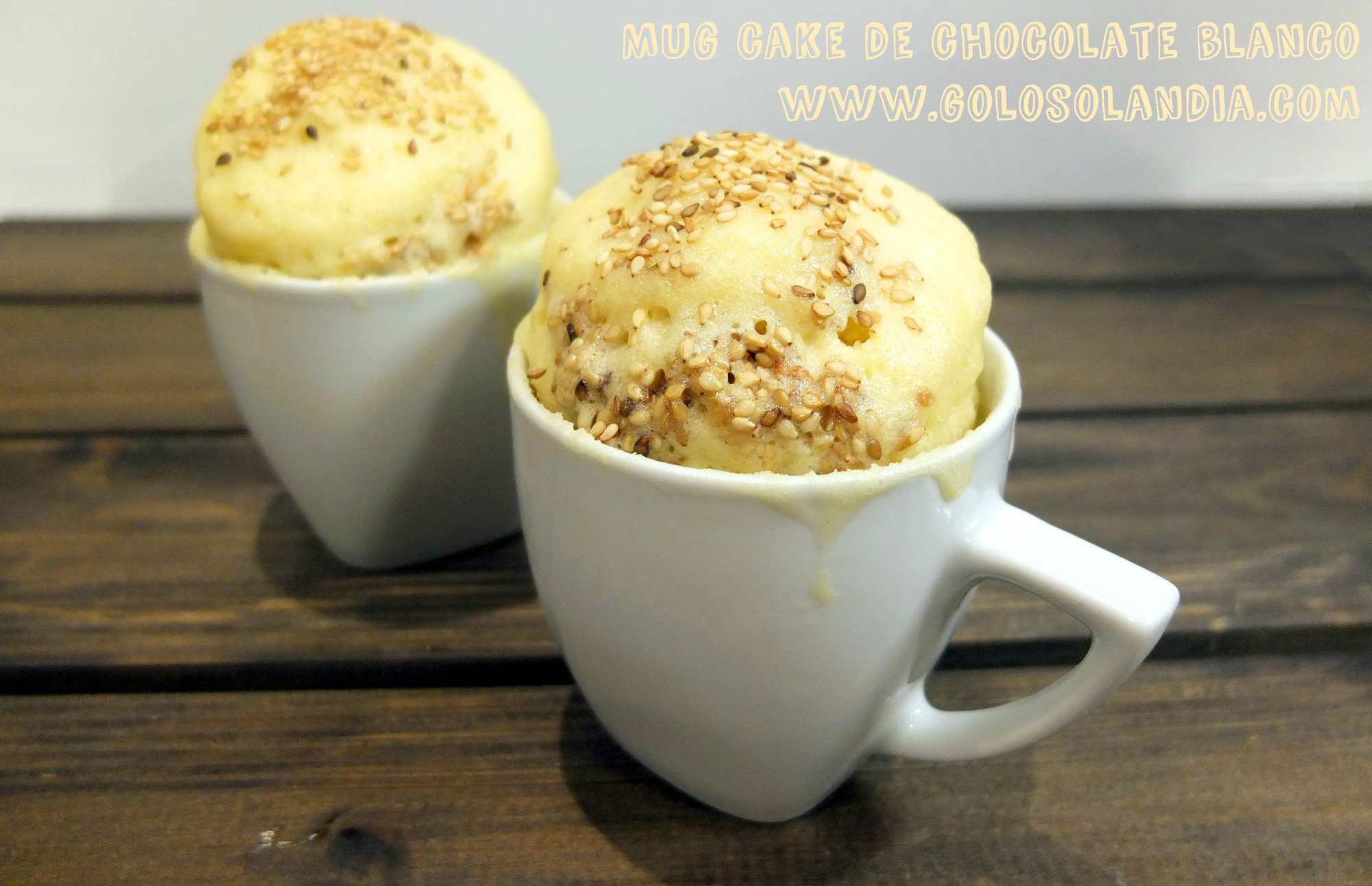 Mug cake de chocolate blanco