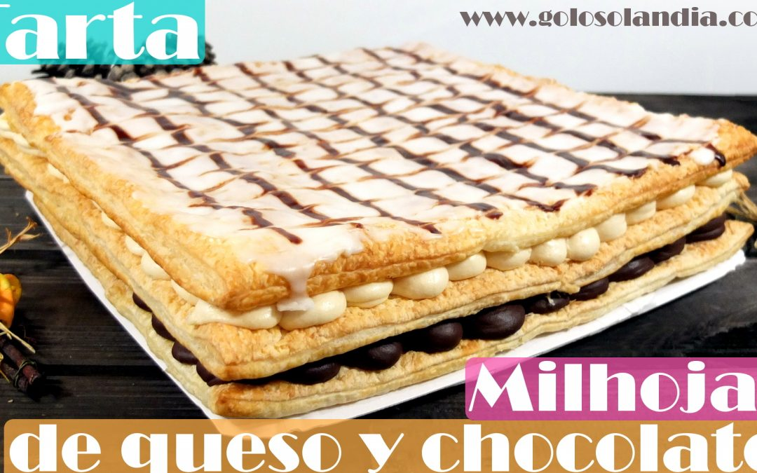 Tarta milhojas de queso y chocolate