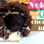 Volcán de chocolate y oreo relleno de chocolate blanco