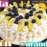 Tarta de limón y arándanos