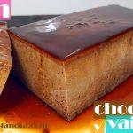 Flan de chocolate y vainilla