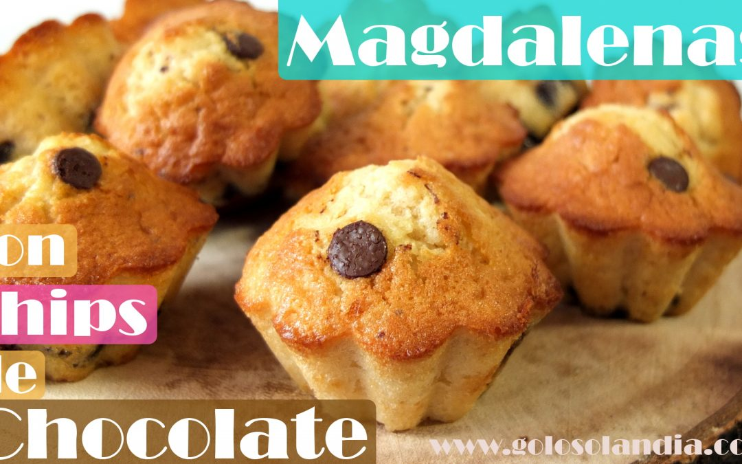 Magdalenas con chips de chocolate o muffins