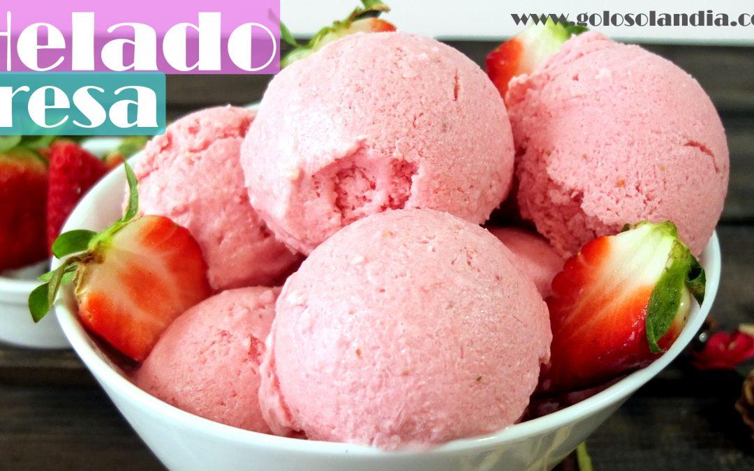 Helado de fresa sin máquina heladera
