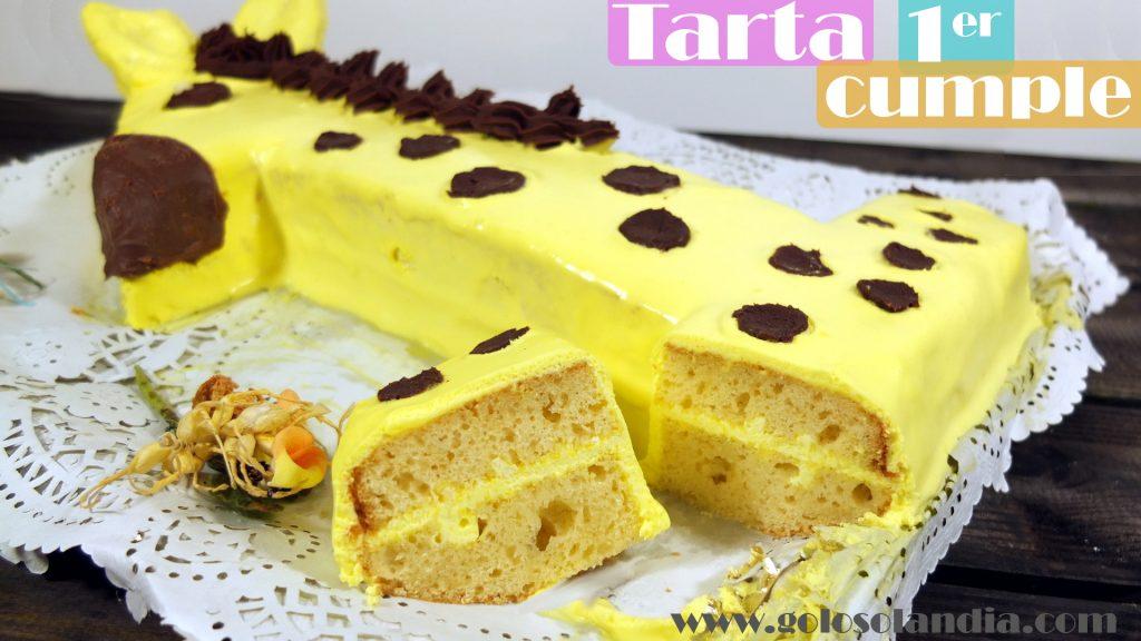 Tarta primer cumpleaños, pastel numero uno con forma de jirafa.