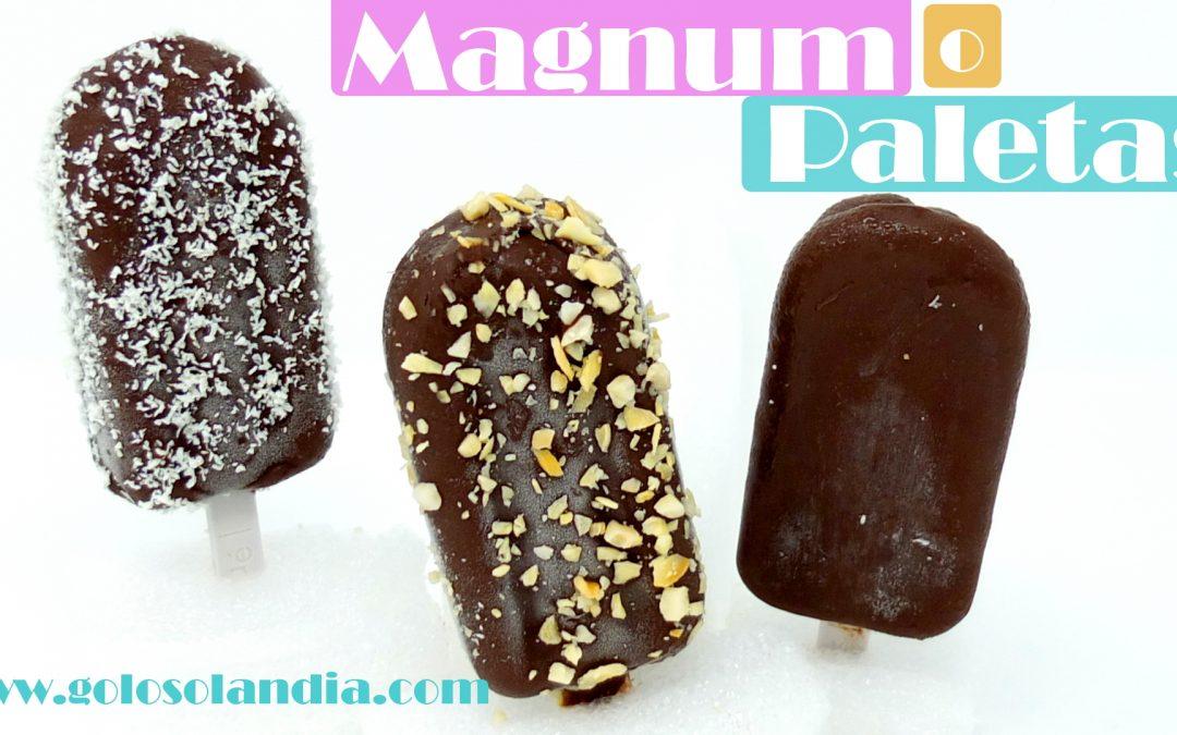 Helado Magnum casero, paletas o almendrados sin maquina sin huevo y cremosos