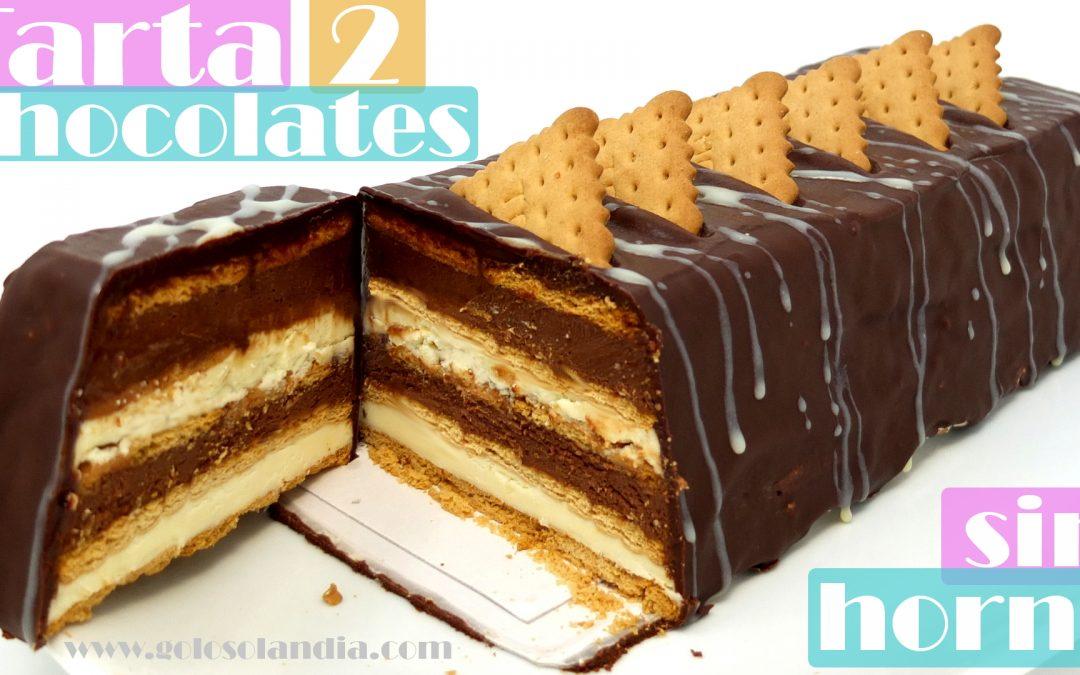 Tarta dos chocolates sin horno