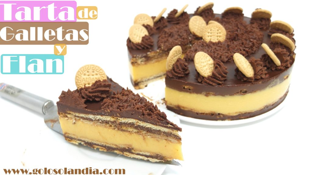 TARTA de FLAN con GALLETAS y CHOCOLATE 🎂🍰🍮 ( SIN HORNO ) | receta muy FÁCIL 🎂🍰🍮
