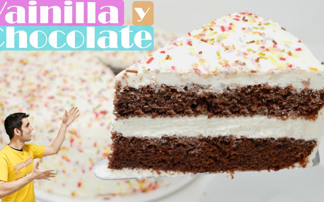 Tarta de vainilla y chocolate