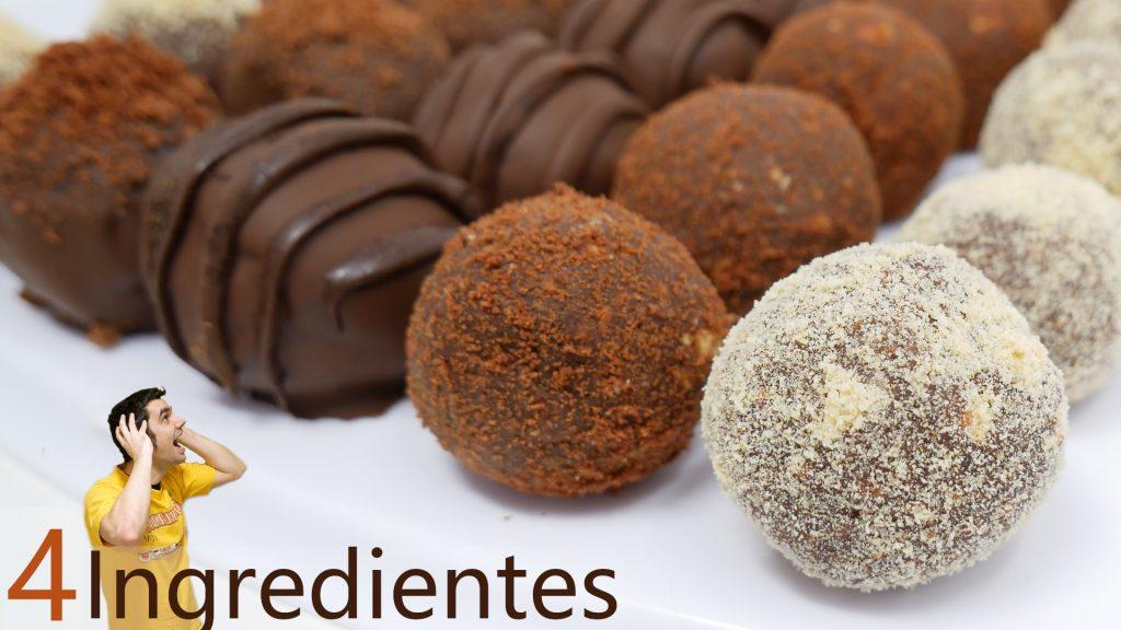 Pasteles o bolas de chocolate y galleta