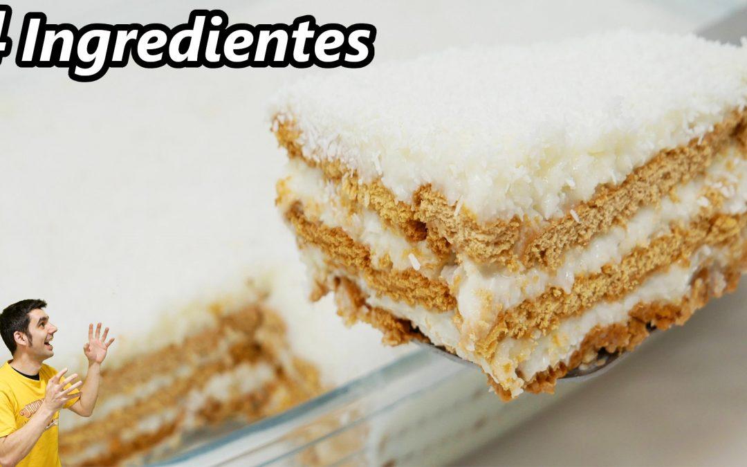 POSTRE de COCO CREMOSO, SOLO MEZCLAR!😍🥥😋4 INGREDIENTES, SIN FUEGO,SIN HORNO,SIN HUEVO, SIN GELATINA