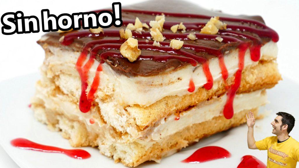 POSTRE SIN HORNO FÁCIL y DELICIOSO 😍🍰😋Torta tarta o pastel CERMOSO de BIZCOCHOS Receta #712